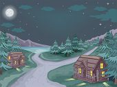 stock photo of log cabin  - Illustration Featuring Log Cabins with the Starry Sky As Its Backdrop - JPG