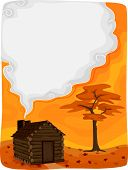stock photo of log cabin  - Background Illustration Featuring a Log Cabin with Smoke Coming From Its Chimney - JPG