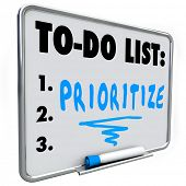 Prioritize word on a to do list written on a dry erase board to help you manage your jobs or tasks in your busy workload poster
