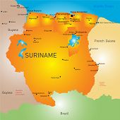 stock photo of suriname  - Vector color map of Suriname - JPG