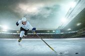 image of ice hockey goal  - Ice hockey player on the ice - JPG