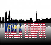 stock photo of kuala lumpur skyline  - Kuala Lumpur skyline reflected with Malaysian flag text vector illustration - JPG