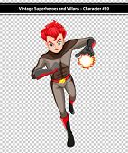picture of fireball  - Illustration of a male superhero with fireball - JPG