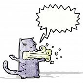 picture of belching  - cartoon cat with bad breath - JPG