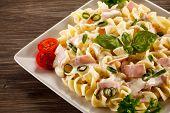 foto of carbonara  - Pasta carbonara and vegetables - JPG