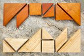 picture of tangram  - two sets of tangram puzzle on a slate rock background - JPG