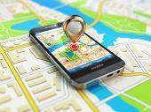 pic of gps  - Mobile GPS navigation concept - JPG