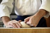 foto of apron  - Making bread yeast dough - JPG