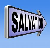picture of jesus sign  - salvation road sign arrow follow jesus and god to be rescued save your soul sign with text and word  - JPG