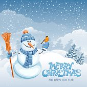 picture of snowman  - Christmas greeting card with cute snowman on winter landscape - JPG