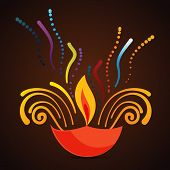 picture of diya  - Vector beautiful diwali diya background  - JPG