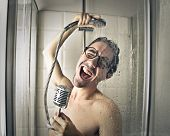 stock photo of ironic  - Singing in the shower  - JPG