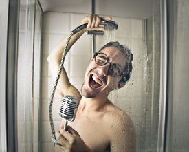 foto of douche  - Singing in the shower  - JPG