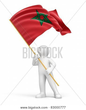 Man and Moroccan flag (clipping path included)