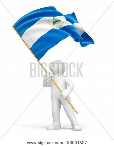 Man and Nicaragua flag (clipping path included)