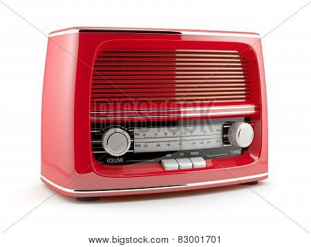 Red Retro Radio Isolated