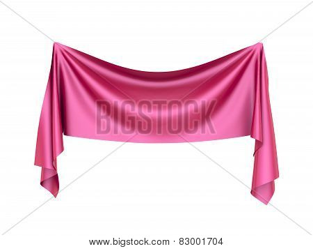 Pinned Red Silk Banner With Folds Isolated On White