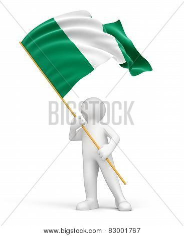 Man and Nigerian flag (clipping path included)