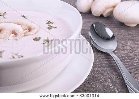Fresh Mushroom Soup In A White Bowl