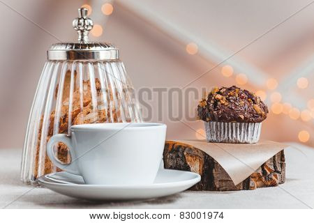 Composition  The Table With A Cup Of Coffee And Pchenem On  Light Background