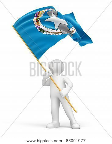 Man and Northern Mariana Islands flag (clipping path included)