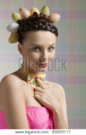 nice easter girl with eggs on head
