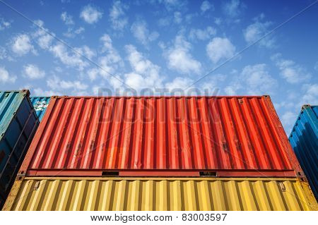 Colorful Metal Industrial Cargo Containers In The Storage Area