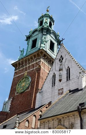 Tower Of Gothic Wawel Cathedral In Krakow,poland, Unesco Heritage Site