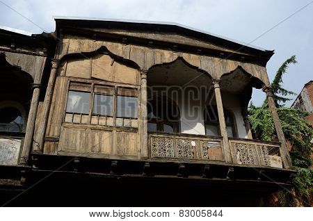 Traditional Architecture In Old Historical Part Of Tbilisi,georgia,central Asia, Wooden Balconies