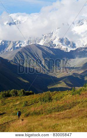 Mountaineer Following Famous Trekking Route To Ushguli Village, Georgia, Caucasus Mountains,Georgia