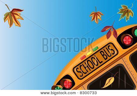 School bus over blue sky