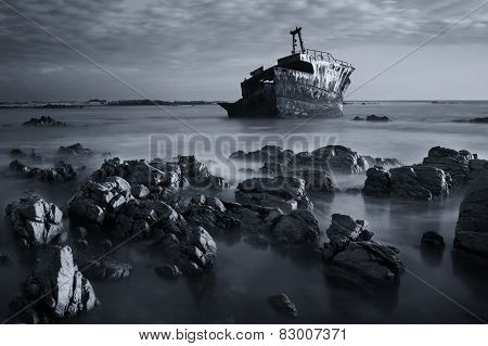 Old Shipwreck Long Exposure On The Rocks Sunset Artistic Conversion