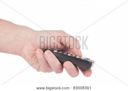 Male Hand Push A Remote