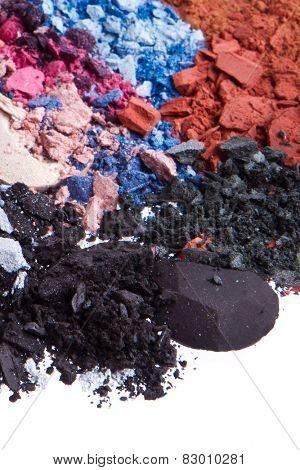 multicolor crushed eyeshadows isolated on white background