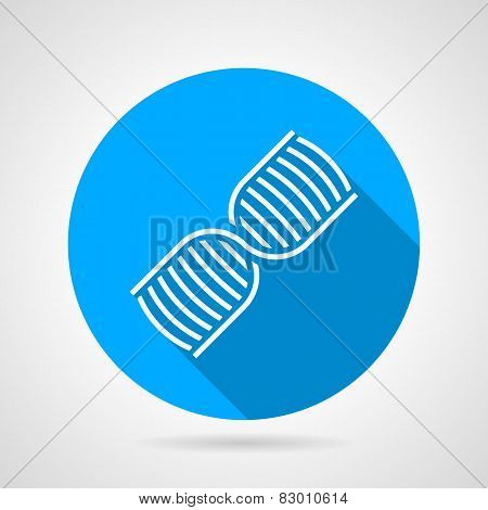 Round blue vector icon for DNA