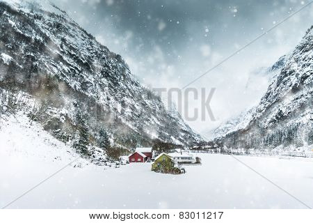 House in the mountains in winter. Norway, Bergen