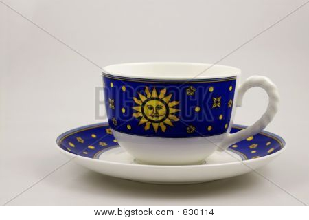 Blue bone china teacup and  saucer