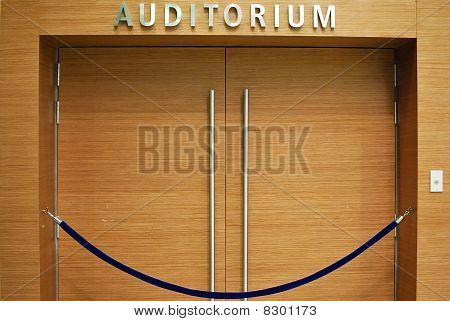 Grand Wooden Auditorium Entrance