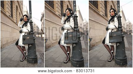 Attractive young woman in a winter fashion shot. Beautiful fashionable young girl in black and white