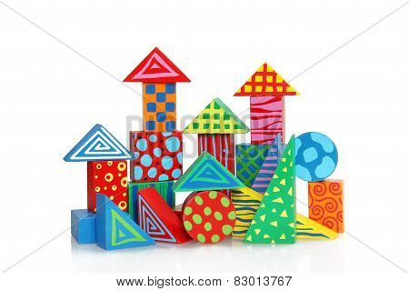 Colorful wooden block houses