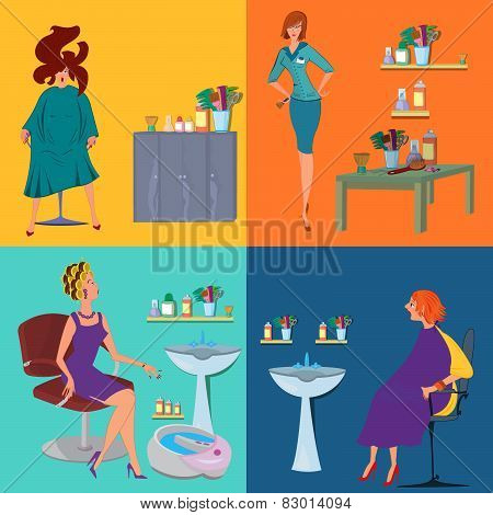 Beauty Salon Spa Customers Flat People