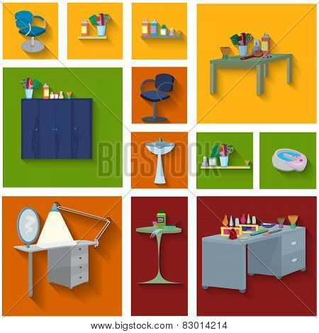 Beauty Spa Furniture Icon Set Flat Design
