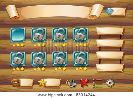 Illustration of a computer game with wooden wall