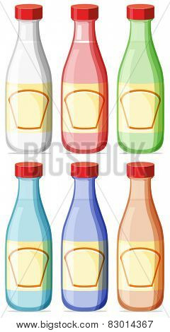 Illustration of six bottles with lable