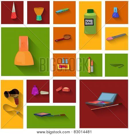 Beauty Spa Objects Icon Set Flat Design