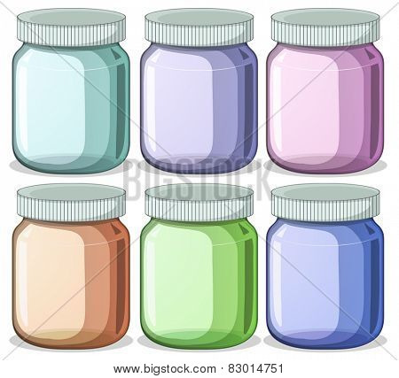 Illustration of six different color jars