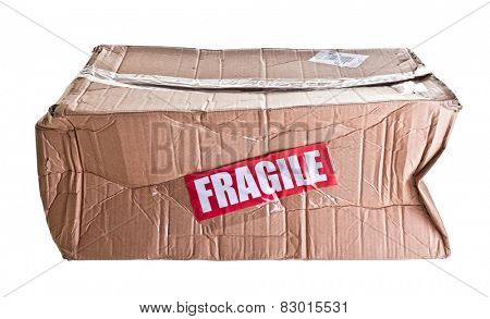 damaged cardboard parcel on white background