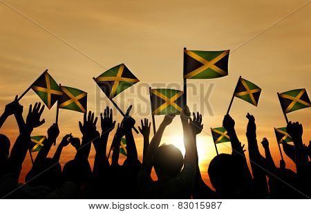 Group People Waving Flag Jamaica Back Lit Concept