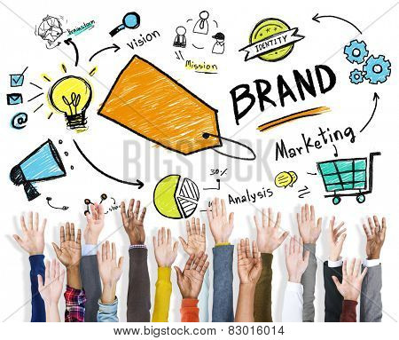 DIverse Hands Raised Isolated Marketing Brand Concept