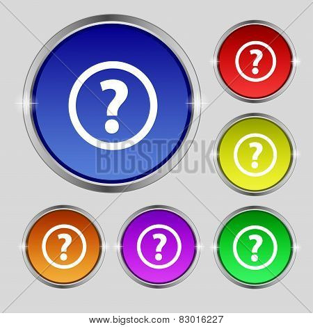 Question Mark Sign Icon. Help Speech Bubble Symbol. Faq  Set Colour Buttons Vector
